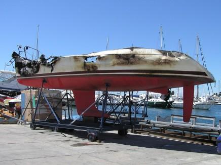 Brandschaden einer Yacht